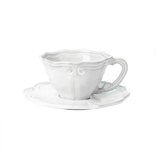 White Baroque Cup Saucer