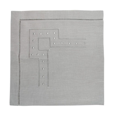 Hemstitch And Dots Napkin - Silver